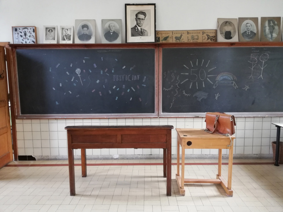 The old classroom with the blackboard.