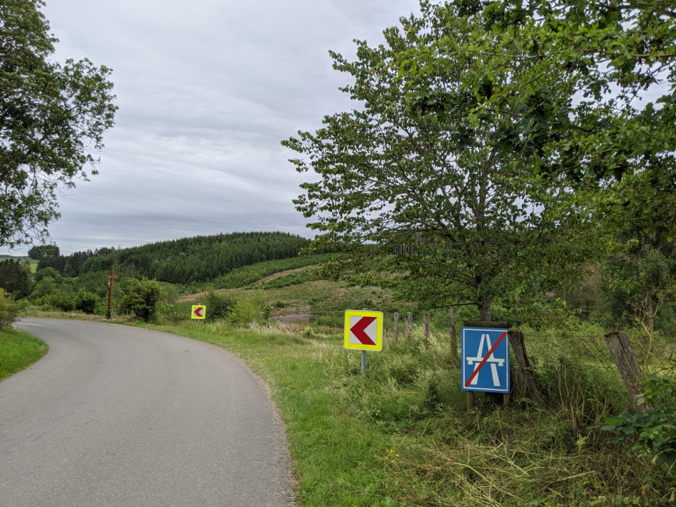 "An initiative of local habitants: ""highway ends here"", at the entrance of the village. A clear message for fast drivers!"